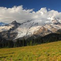 View of Mount Rainier (14,411') from the Sourdough Ridge Trail.- Burroughs Mountain Hike