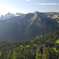 View south of Yakima Park, Shadow Lake and the Cowlitz Chimneys.- Burroughs Mountain Hike