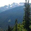 View south of the Cowlitz Chimneys from Silver Forest Trail.- Silver Forest Trail