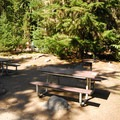Picnic tables in the day use area at White River Campground.- White River Campground