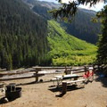 Campsite along the river's edge at White River Campground.- White River Campground