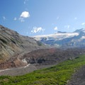 The Emmons Glacier terminus and the beginning of the White River.- Emmons Moraine Trail