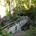 Bridge over Ohanapecosh River on the Silver Falls Loop Trail.- Silver Falls and Hot Springs Loop Trail
