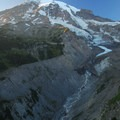Sunset view of Mount Rainier (14,411') and the Nisqually Glacier and River.- Nisqually Vista Trail