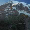 Sunset view of Mount Rainier (14,411') from the Nisqually Vista Trail.- Nisqually Vista Trail