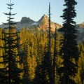 View south toward the Tatoosh Range: The Castle (left) and Pinnacle Peak (6,562').- Nisqually Vista Trail
