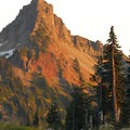 View of Pinnacle Peak (6,562'), a part of the Tatoosh Range, at sunset.- Nisqually Vista Trail
