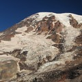 Mount Rainier and Nisqually/Wilson Glacier from the departure point for Camp Muir.- Skyline Trail Hike