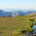 View south to the Tatoosh Range and Mount St. Helens (8,365').- Skyline Trail Hike