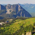 View looking back at Paradise Lodge and Eagle Peak (5,958').- Skyline Trail Hike