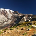Mount Rainier (14,411') and Nisqually Glacier from Paradise Park, Skyline Trail.- Skyline Trail Hike