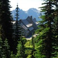 View of Paradise Lodge and the Tatoosh Range from Skyline/Myrtle Falls Trail.- Paradise Park, Myrtle Falls
