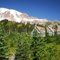 Mount Rainier (14,411') and Paradise Inn.- Paradise Inn