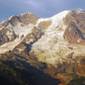 Mount Rainier sunset from Gobblers Knob lookout tower.- Gobblers Knob + Lake George Hike