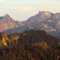 Sunset view of Unicorn Peak (6,971') from Gobblers Knob.- Gobblers Knob + Lake George Hike