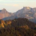 Sunset view of Unicorn Peak (6,971') from Gobblers Knob.- Gobblers Knob + Lake George Hike