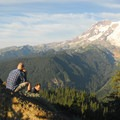 Mount Rainier (14,411') from Gobblers Knob lookout tower.- Gobblers Knob + Lake George Hike