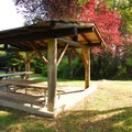 The picnic shelter in the tent-only camping area in Fay Bainbridge Park Campground.- Fay Bainbridge Park Campground