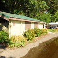 Restroom and shower facilities at Fay Bainbridge Park Campground.- Fay Bainbridge Park Campground
