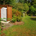 A portable toilet for the tent-only camping area at Fay Bainbridge Park Campground.- Fay Bainbridge Park Campground