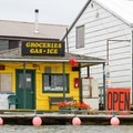 Whimsical signage at a riverside store.- Columbia River: Hayden Island to Lemon Island