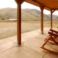 A patio at Cottonwood Canyon State Park's information kiosk.- Cottonwood Canyon State Park