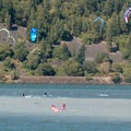 Kite surfers just off of The Spit.- The Spit + Hood River Event Site