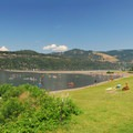 View of the Hood River Event Site and The Spit in the background.- The Spit + Hood River Event Site