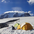 Mount Rainier (14,411 ft) from a base camp just to the west of Moon Rocks.- Mount Rainier National Park