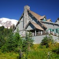 Mount Rainier (14,411 ft) and Paradise Inn.- Mount Rainier National Park