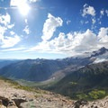 Panoramic view of Mount Rainier (14,411 ft) from Burroughs Mountain (Sunrise area).- Mount Rainier National Park