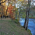 Campsites along the river at Rogue Elk Campground.- Rogue Elk Camground