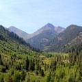 View looking south over Mineral King Valley.- Glacier Pass, Sawtooth Pass + Big Five Lakes Hiking Loop