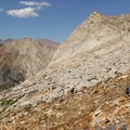 The descent from Glacier Pass to Spring Lake.- Glacier Pass, Sawtooth Pass + Big Five Lakes Hiking Loop