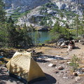 A backcountry camp at Spring Lake. - Glacier Pass, Sawtooth Pass + Big Five Lakes Hiking Loop