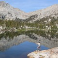 Throwing bugs before breakfast. Middle Big Five Lake.- Glacier Pass, Sawtooth Pass + Big Five Lakes Hiking Loop