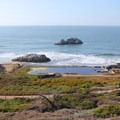 The ruins of Sutro Baths at the edge of the Pacific.- Lands End Lookout + Sutro Baths