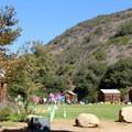 Cedar cabins surrounding one of El Capitan Canyon's open lawn spaces.- El Capitan Canyon Nature Resort