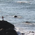 Surf fishing from Mile Rock Beach.- Lands End Coastal Trail