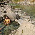 Boulders in the pools offer natural seating.- Kirkham Hot Springs