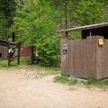 Vault toilets at the boat ramp and trailhead.- Selway River