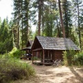 Volunteer host cabins at the Shearer Guard Station.- Selway River