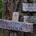 The trail junction at Pamelia Lake.- Pamelia Lake + Grizzly Peak