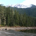 Mount Jefferson (10,495 ft) behind Pamelia Lake.- Pamelia Lake + Grizzly Peak