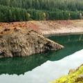 Fall colors are apprent across the reservoir.- Terwilliger Hot Springs