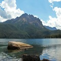 Semi-submerged boulders provide a sheltered spot to park the boats and take a swim.- Redfish Lake