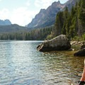 The quiet lakeside is a prime place to relax and take in the scenery.- Redfish Lake