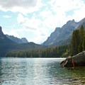The south end of the lake offers a spectacular view of Grand Mogul (9,733', left) and Mount Heyburn (10,229', right).- Redfish Lake