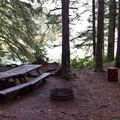 One of the sites at the primitive lakeshore campground.- Siltcoos Lake Trail
