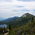 Castle Lake and Mount Shasta (14,179') from Heart Lake.- Heart Lake